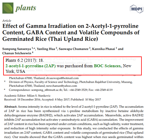 Effect-of-gamma-irradiation-on-2-acetyl-1-pyrroline-content-GABA-content-and-volatile-compounds-of-germinated-rice-Thai-Upland-Rice