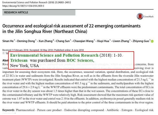 Occurrence-and-ecological-risk-assessment-of-22-emerging-contaminants-in-the-Jilin-Songhua-River-Northeast-China